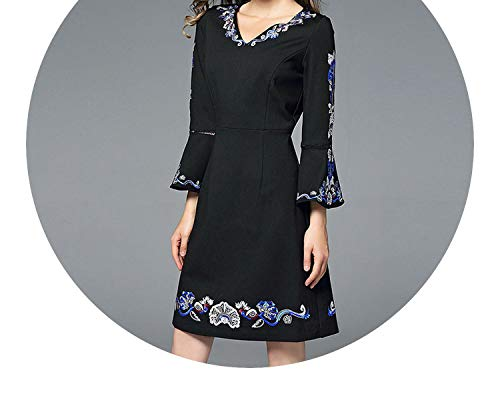 Elegant V-Neck Black Embroidery Dress Vestidos Mujer Invierno 2018 Vestido Branco K6319,Black,L