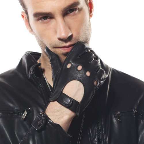 ELMA Men's Unlined Deerskin Leather Driving Gloves Cutout At Back (S, Black) -