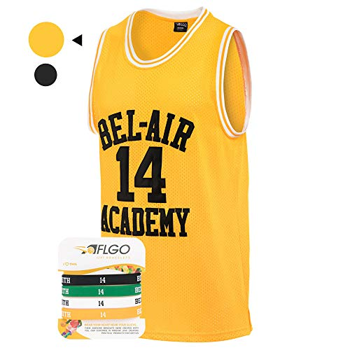 (AFLGO The Fresh Prince of Bel Air 14 Academy Jersey Will Smith Include Free Wristbands (Yellow,)