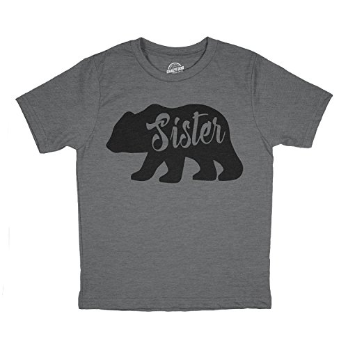 - Youth Sister Bear Tshirt Cute Funny Family Tee for Little Sister (Dark Heather Grey) - L