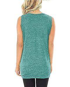 Yidarton Women Tank Tops Solid Twist Knot Tunics Tops(Z#006 Green,m)