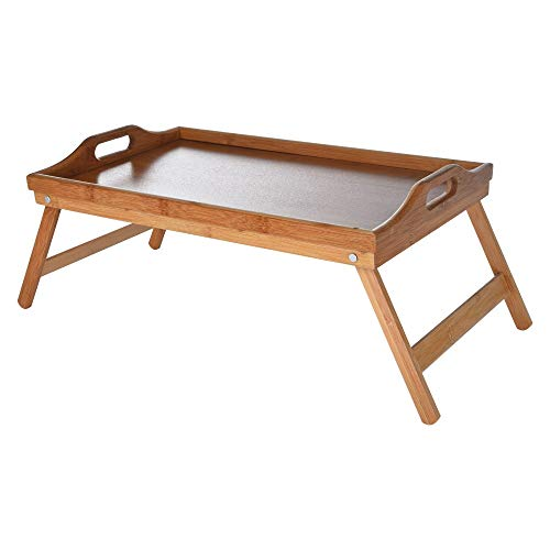 Portable Lap Desk Bed Tray Table Handles Bamboo Folding Lap Desks for Adults and Kids as Dinner & Breakfast in Bed Tray for Eating, Tea TV Laptop Work or Study -