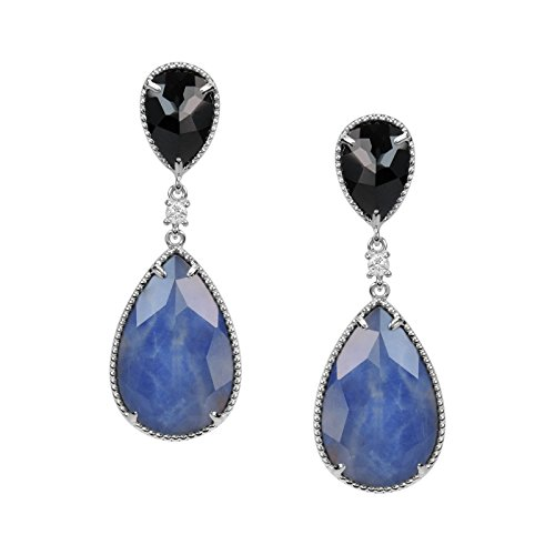 - AURA BY TJM 925 STERLING SILVER PEAR SHAPE EARRINGS SET WITH 19.94 CTW, FANCY CUT CRYSTAL & INDIAN SAPPHIRE DOUBLET AND 5.29 CTW BLACK SPINEL, WITH 0.14 ROUND WHITE SAPPHIRE ACCENT