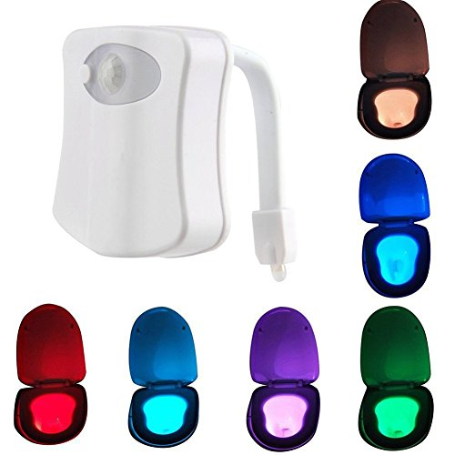 Qianyi Colorful LED Motion Activated Sensor Toilet Night Light,8 Colors Changing Home Toilet Bathroom Human Body Auto Seat Dimmable Lamp (White)
