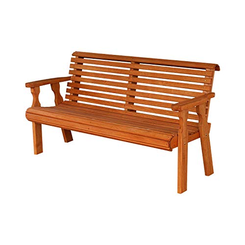 (Amish Heavy Duty 800 Lb Roll Back Pressure Treated Garden Bench (4 Foot, Cedar Stain))