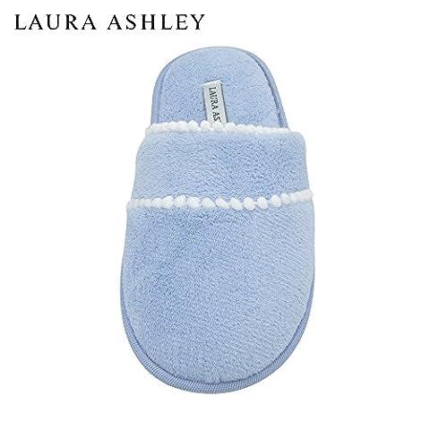 Laura Ashley Ladies Pom Trim Soft Terry Scuff Slipper in Blue, Size L (Rugged Bear Plush)