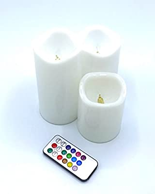 """Jones Best Buy Flameless Pillar Candle Set of 3 (4"""" 5"""" 6"""") Dripless Wax LED Pillar Lights Battery Operated Flickering 12-Color Remote Control Christmas Baby Party Wedding Meditation"""