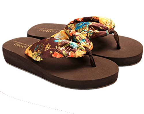 Wedge a Brown Flip Floral Satin Slippers ANBOVER Summer Flops Bohemia Womens XqvTS