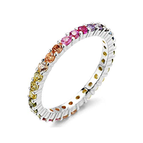 - NYC Sterling Women's 2MM Sterling Silver Rainbow Round Cubic Zirconia Eternity Ring (6)
