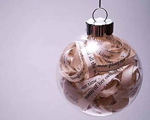 Pride and Prejudice by Jane Austen Christmas Ornament - 2.62 Inch Glass Ornament with 1/4 Inch Strips