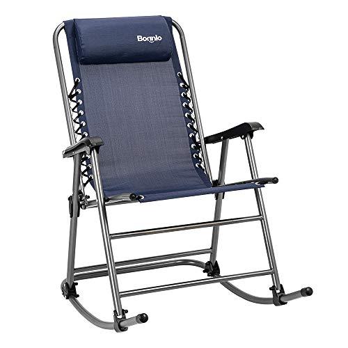 Bonnlo Foldable Rocking Chair Patio Lawn Chair, Beach Reclining Folding Chairs, Outdoor Portable Chair for Camping Fishing Beach (Blue)
