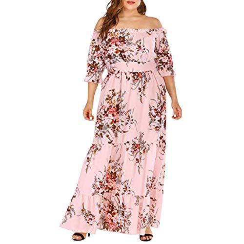 - YFancy Bohemian Plus Size Dresses for Women Summer Casual Off Shoulder Short Sleeve High Waist Long Beach Maxi Dress Pink