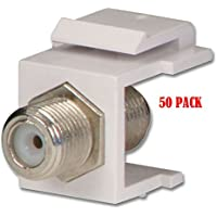 White Snap-In F-Type Insert Keystone Jack Connector Modular Coax RG59 RG6 50/pk
