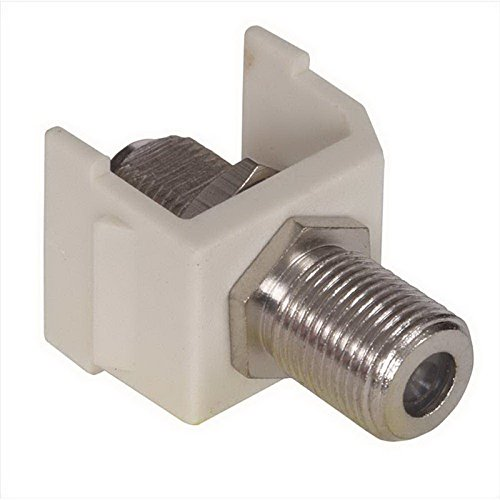 Hubbell Premise SFFALX AV F-Type Bulkhead Coupler RG-6 and RG-59 - 75 Ohm Coax Cable Female Snap-Fit/Screw-On Polymer Housing Brass Connector Almond Nickel-Plated ()
