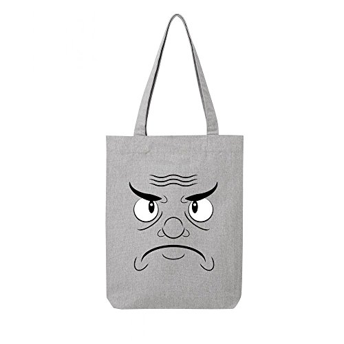 gris toile mchant Tote bag recycle visage en wqWWA61ng