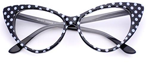 Cat Eye Glasses Vintage Inspired Mod Fashion Clear Lens Eyewear