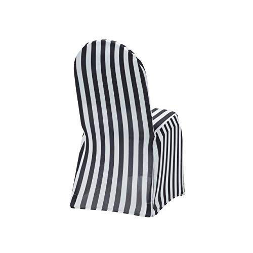 6 Pack Stretch Spandex Chair Covers Black and White Striped,Stretch Slip Covers