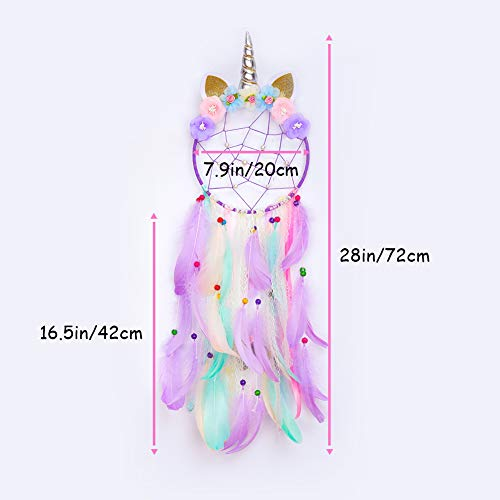 FIODAY Unicorn Dream Cather Wall Decor Led Dream Catchers with Light Colorful Feather Dreamcathers for Girls Gift Home Hanging Decor for Bedroom(Purple)