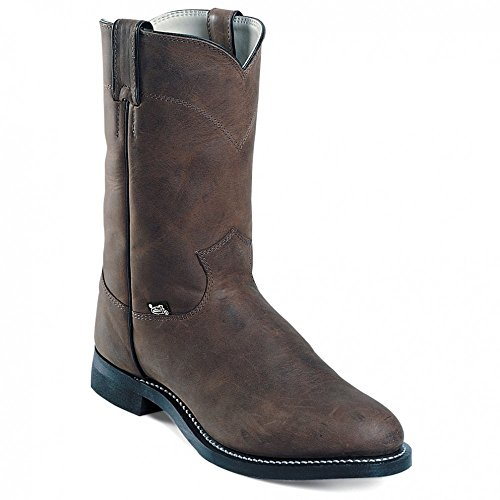 "Justin Boots Men's 3001 Farm & Ranch 10"" Boot Roper Toe Rubber Outsole,Crazy Cow,12 D US"