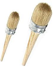 Krijtverf,2 stuks Wax Borstel Set Natuurlijke Varkenshaar Ronde Wax Verf Borstels voor Schilderen Folkart Waxen Meubels Home Decor 20mm 30mm