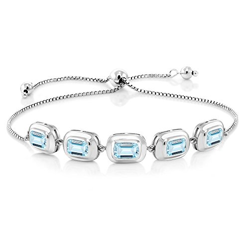 4.00 Ct Octagon Sky Blue Aquamarine 925 Sterling Silver Bracelet by Gem Stone King