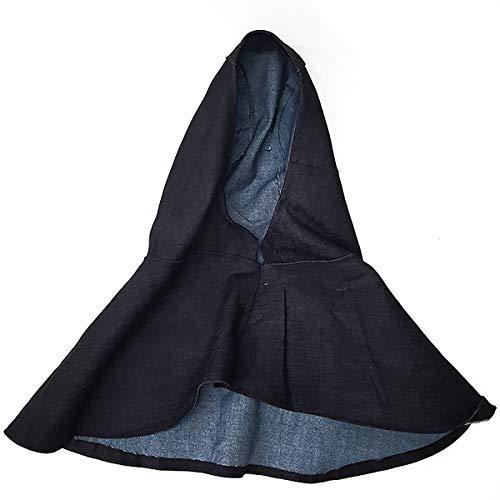 (Denim Blue Fabric Welder Head Cap Flame Retardant Helmet Hat Welding Head Neck Protective Hood Welder Safety Cover)