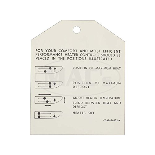 MACs Auto Parts 60-47539 Galaxie Heater Instruction Tag,