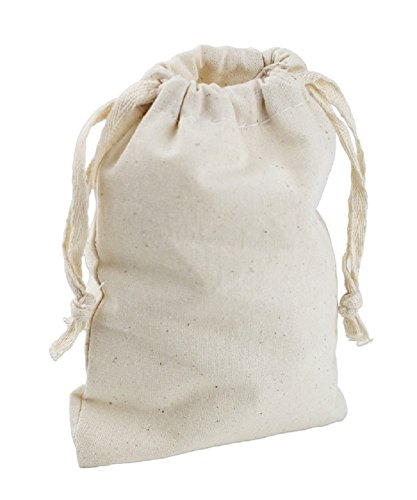 Cotton Drawstring Muslin Pouches Drawstring Favor Bags (Pack of 12) (8