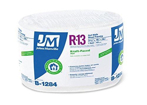 - Johns Manville 90013166 Kraft-faced R-13 Fiberglass Insulation Roll, 15