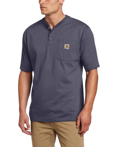 Carhartt Big And Tall Work Shirt - Carhartt Men's Big & Tall Workwear Pocket Short Sleeve Henley Original Fit K84,Bluestone,XX-Large Tall