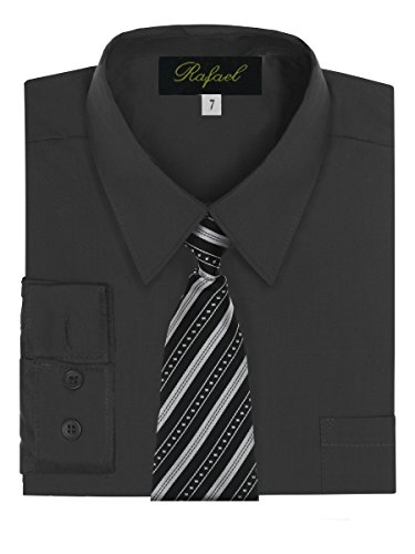 Boy's Dress Shirt & Tie - Black, 10