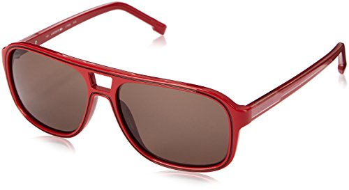 Lacoste Men's L742S Aviator Sunglasses, Red, 57 mm