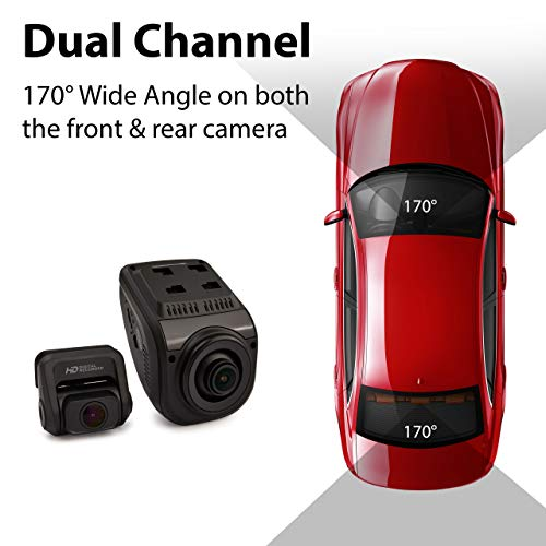 """Rexing V1P Pro Dual 1080p Full HD Front and Rear 170° Wide Angle Wi-Fi Car Dash Cam with Built-in GPS Logger, Supercapacitor, 2.4"""" LCD Screen, G-Sensor, Loop Recording, Mobile App, Parking Monitor"""