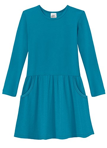 City Threads Little Girls' Drop Waist French Party Dress in All Cotton - Sensitive Skin and Sensory Friendly SPD - School Fall Parties Cute, Teal, 2T