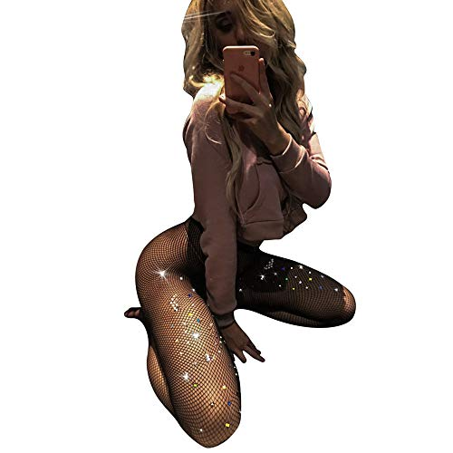 Womens Black Fishnet Lace High Waist Tights Suspender Pantyhose Stretchy Thigh-High Stockings - Bodystocking Lingerie Sexy
