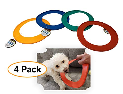Pet Solutions Dog Fetch Ring | Tug War (4 Pack) 8-1/2 Diameter Dog Teeth Chew Toy