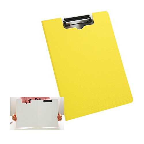 Kxtffeect Plastic Padfolio Clipboard, Profile Clip File Folder, A4 Business Papers Contracts Documents File Folder/Clip,360 Degree Flip Writing Pad (Yellow) (Plastic Padfolios)