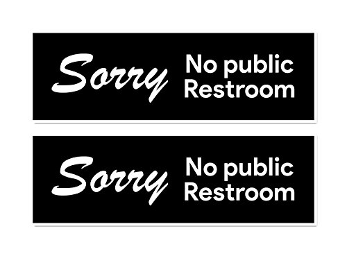 No Public Restroom Sticker Signs | for Retail Stores, Offices, Coffee Shops, Convenience ()