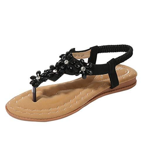 - ONLY TOP Women Strap Flat Sandals Shoes - Summer Bohemian Ankle T Strap Thong Shoes Strappy Flip Flops Sandals Black