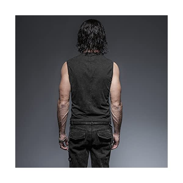 Punk Rock Man Cotton Leather Belt Sleeveless T-Shirt Front Strap Vest Bandage Casual Tank Tops 5