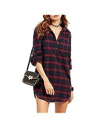 Shinekoo Women Long Sleeve Plaid Shirt Mini Dress Long Top Blouse Pullover