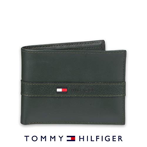 (Tommy Hilfiger Men's Leather Wallet - Thin Sleek Casual Bifold with 6 Credit Card Pockets and Removable ID Window, Green)
