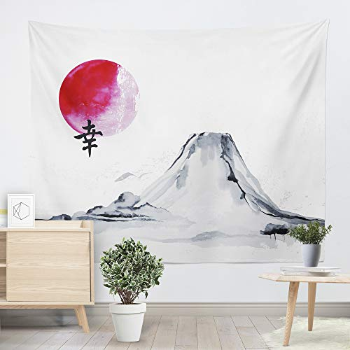 Spanker Japanese Artistic Style The Great Fuji Mountain Ink Painting Fabric Tapestry Wall Hanging for Home Dorm Decoration (59x79 inches or 150x200 -