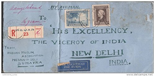 Delhi Cover (1946 Airmail Cover from Medan Sumatra Addressed to British Viceroy New Delhi)