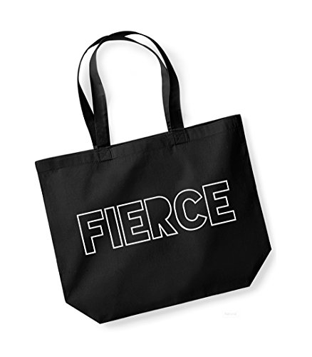 Cotton Tote Kelham Bag Black Canvas Print Slogan white Fierce Unisex AHOnOtq6