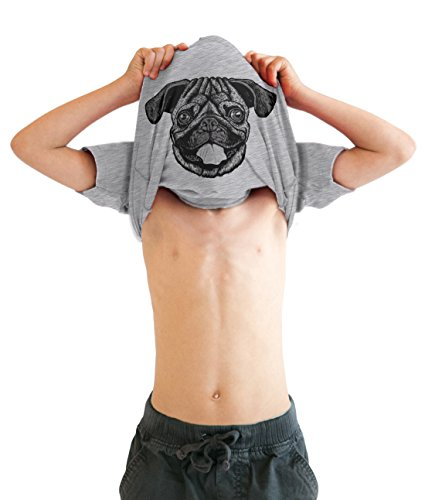 Ask Me About My Pug Infant T Shirt Funny Dog Face Flip Costume Cute Toddler Tee (Grey) 4T ()