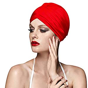 BALNEAIRE Spandex Swim Cap Colorful Bathing Turban Swimming Cap