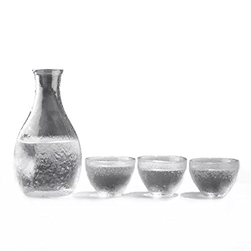 KCHAIN Hammered Glass Sake Set with 1PC Bottle and 3PCS Cups KCHAIN LIMITED