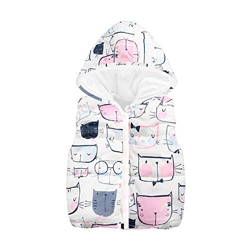 2-6T Kids Baby Girls Boys Sleeveless Waistcoat Cat Print Hooded Zipper Warm Tops Coat Jacket Christmas Clothes (White, 4Years)