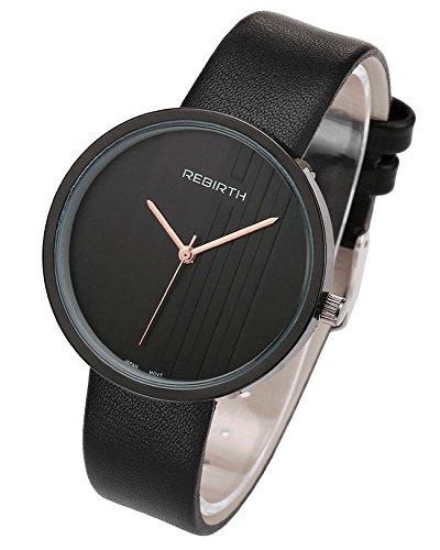 JSDDE Uhren,Elegant Armbanduhr Japanische Uhrwerk Ultra Dünn Gehäuse Gestreift Dial Lederband 3ATM Analog Qaurzuhr,Schwarz